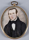 American Portrait Miniature of a Gentleman c1850