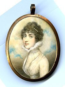 Superb Andrew Plimer Miniature Painting of Young Woman c1795