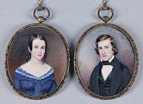 Signed Moses B. Russell Pair of Miniatures c1843