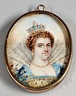 Miniature Portrait of Crowned Woman 19th c