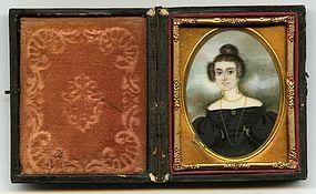Abraham Parsell Miniature Portrait of a Young Woman c1830