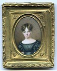 A Charming Miniature Portrait Painting of Pretty Young Girl c1825