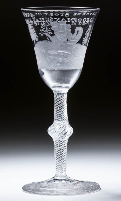 A Georgian Antique Dutch Engraved Air Twist Wine Glass c1755