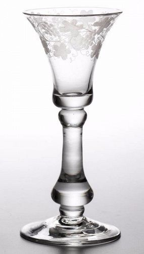 A Superb English Baluster Wine Glass c 1715 - 1720