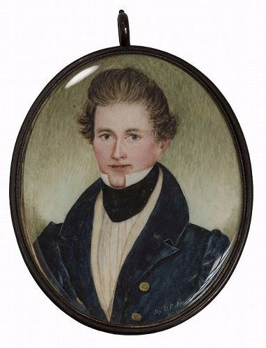 A Rare Signed Portrait Miniature by Daniel Ames c1837