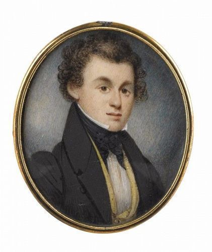 William Lewis American Miniature Painting of a Young Gent c1836