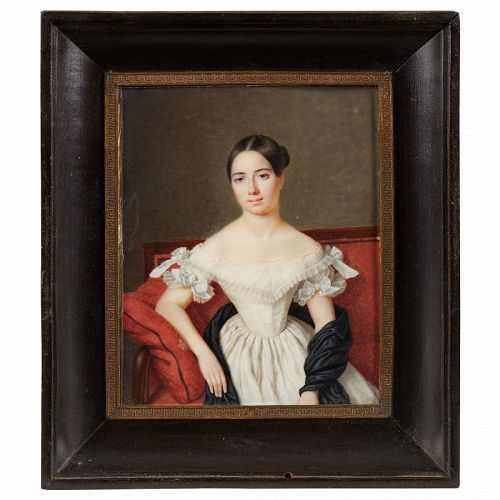 French Miniature Portrait of Young Lady Attrib. to Andre Larue c1825