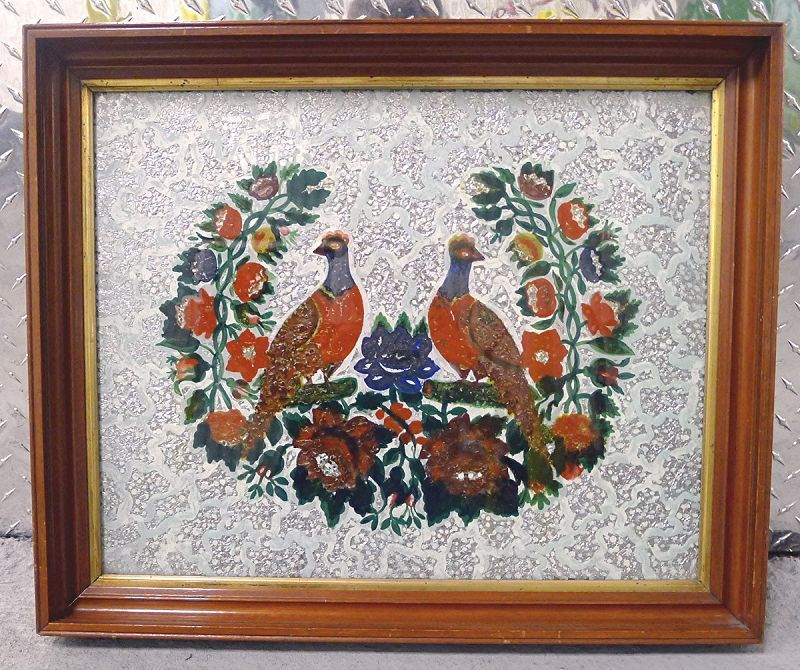 Striking Tinsel Foil Painting of Birds c1875