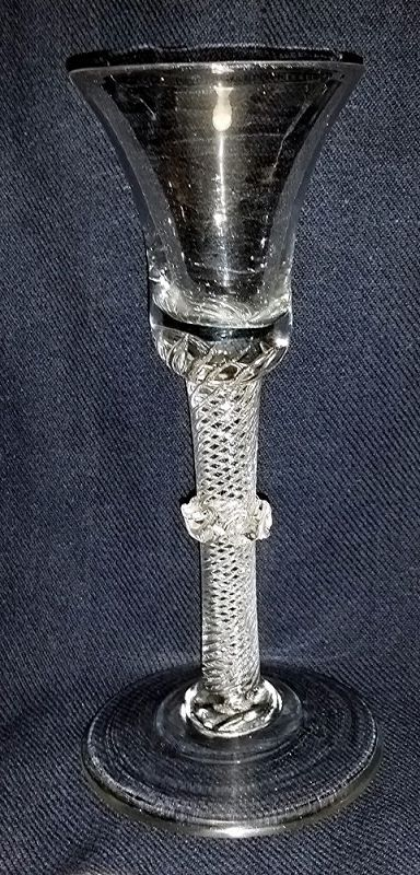 Georgian English MSAT Wine Glass Vermicular Collar c1755