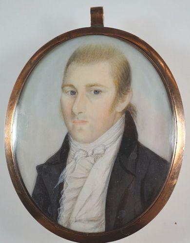 A Rare John Brewster Jr. Portrait Miniature c1795