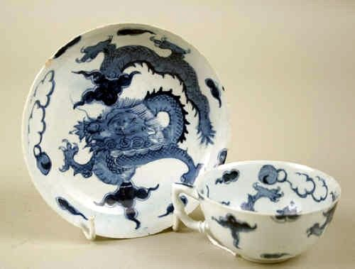 Rare Bow Porcelain Dragon Cup and Saucer c1754