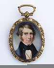 American Miniature Portrait of a Gent c1840 with Unusual Gold Case