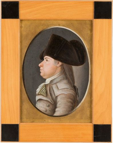 A Fine Small Profile Portrait on Wood c1785