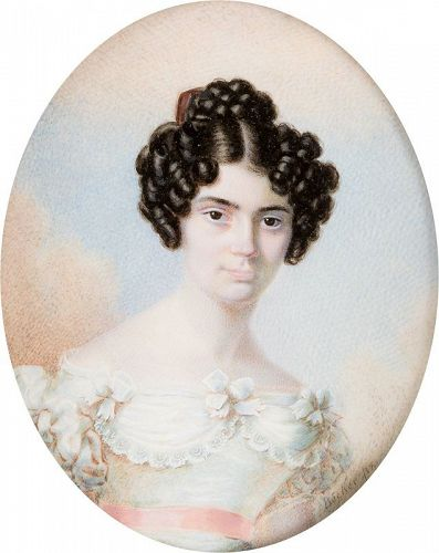 A Beautiful Portrait Miniature by Johann Jakob Becker c1824