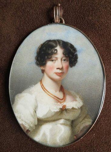 James Morris Davis, A Fine English Miniature Portrait c 1817
