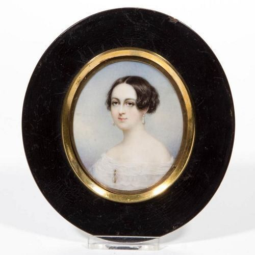 Thomas Seir Cummings, Portrait Miniature of Eliza Cadwalder c1840