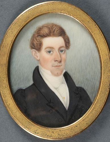 A Miniature Portrait Painting of a Handsome Young Man c1835