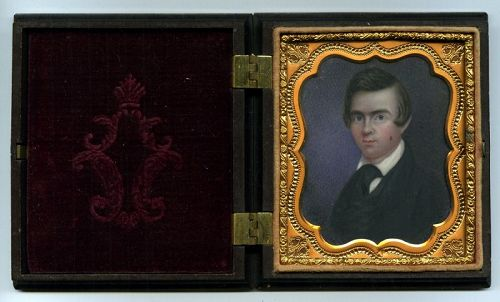 Portrait Miniature of Young Gent c1853 in Critchlow Case