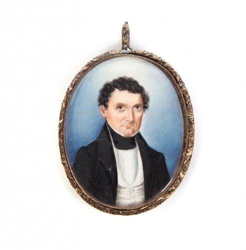A Fine American Miniature Portrait of  a Man c1835