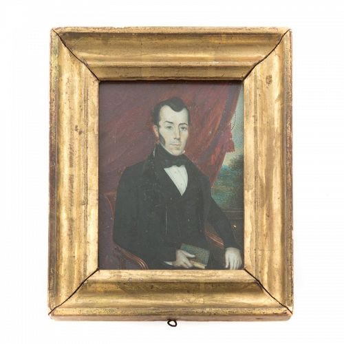 American Folk Art Miniature Painting c1830