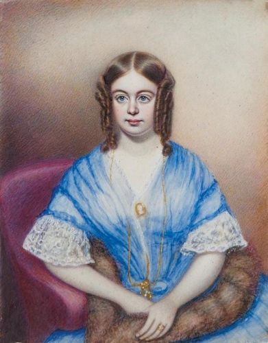 Moses B. Russell Miniature Portrait of a Young Woman c1846