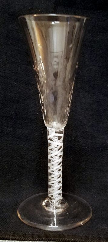 Antique Georgian Opaque Twist Wine Glass c1765