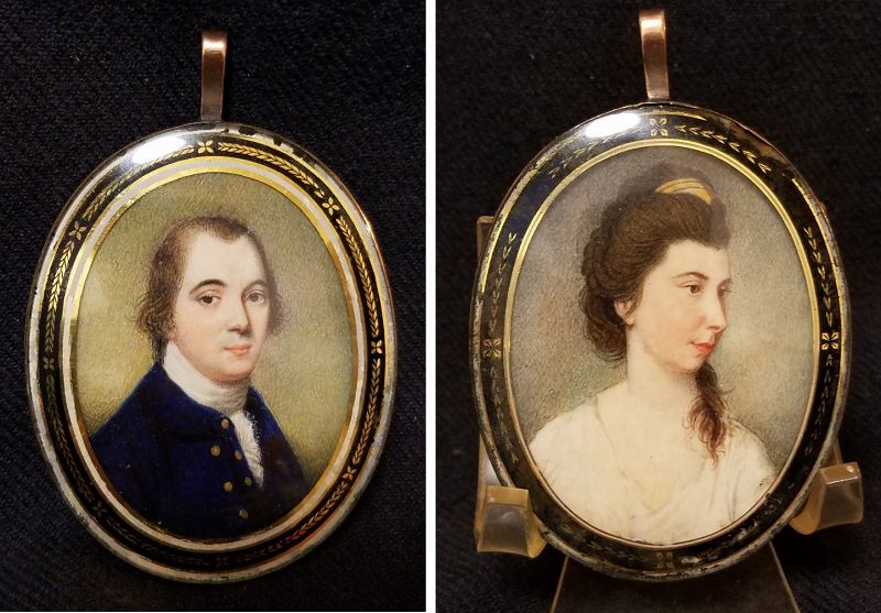 Ozias Humphry Rare Miniature Painting, Double-Sided c 1790