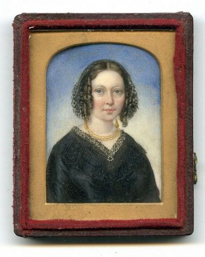 Striking American Miniature Portrait of Young Woman c1836
