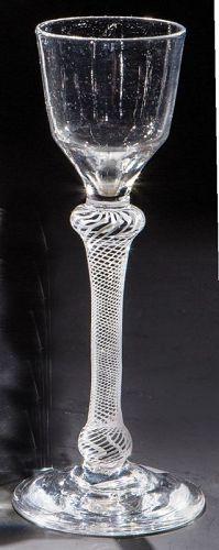 Antique English Opaque Twist Wine Glass c1765