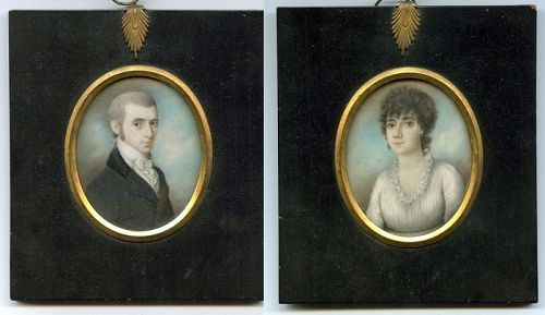 A Fine Pair of Henry Jacob Burch Miniature Portraits c1810