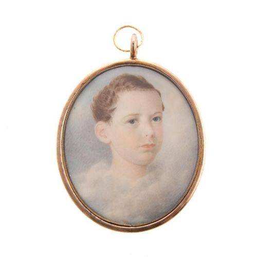 Eliza Goodridge Mourning Miniature of Young Boy c1830