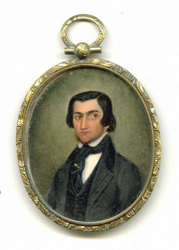 Portrait Miniature of Bewhiskered Man c1845