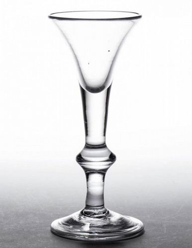 A Good English Baluster Wine Glass  c1720 - 1725