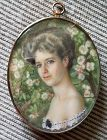 A Beautiful Miniature Portrait of a Young Woman c1895