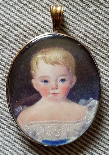 A Nice Portrait Miniature of a Child c1831