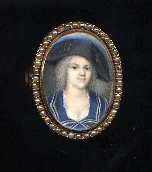 Charming French Portrait Miniature Ring c1790