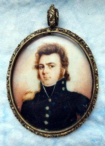 Isaac Miller Extremely Rare Portrait Miniature of Officer c1818