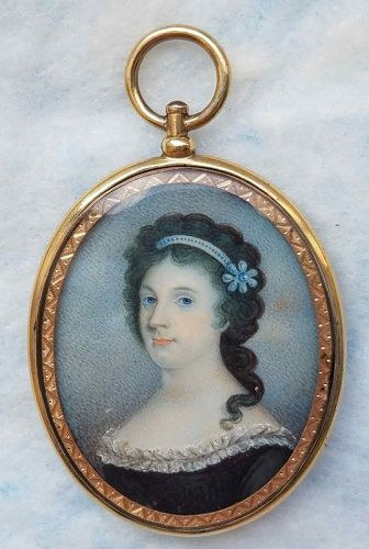 Miniature Portrait of a Young Woman c1810