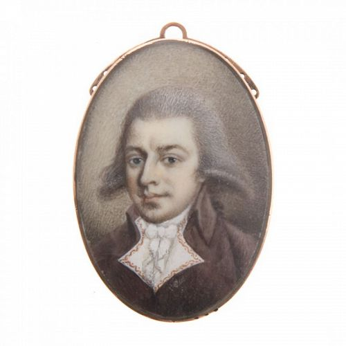 A Fine Miniature Portrait of a Gentleman c1785