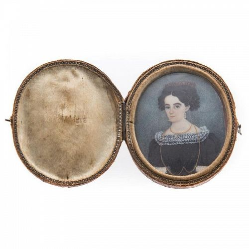 American Miniature Painting of Young Woman c1830
