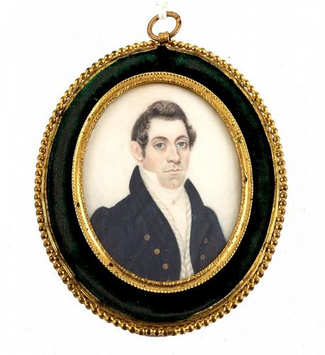 China Trade or American Masonic Portrait Miniature c1820