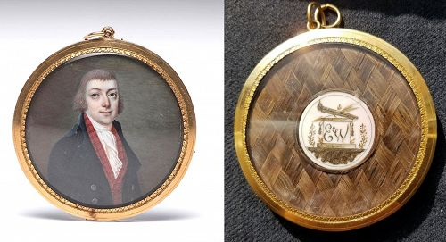 Superb Fancy Back French Miniature Portrait c 1790