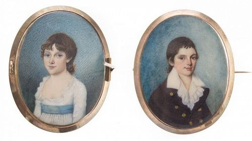 A Double Portrait Miniature of Children c1790