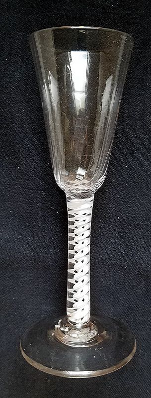 Antique English Opaque Twist Wine Glass c1765