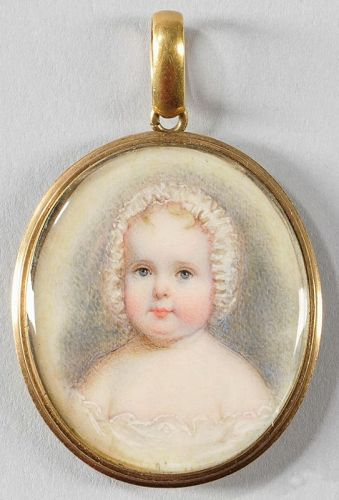 John Carlin Miniature Portrait of a Baby c1837