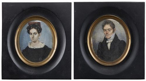 Richard  Verbryck Verbryke Portrait Miniatures (Pair)  c1830