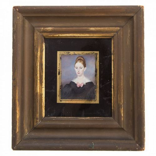 American Miniature Painting of a Young Woman c1825