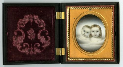 Rare Clarissa Peters Double Miniature Portrait c1845
