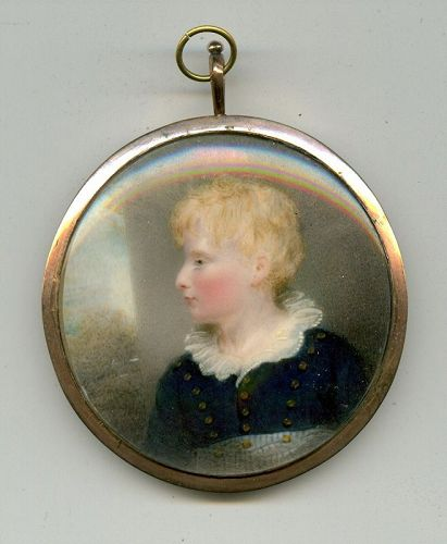 Thomas Hargreaves Miniature Portrait of a Child c1820