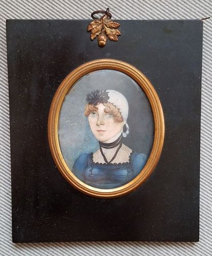 American Portrait Miniature of Young Woman c1820